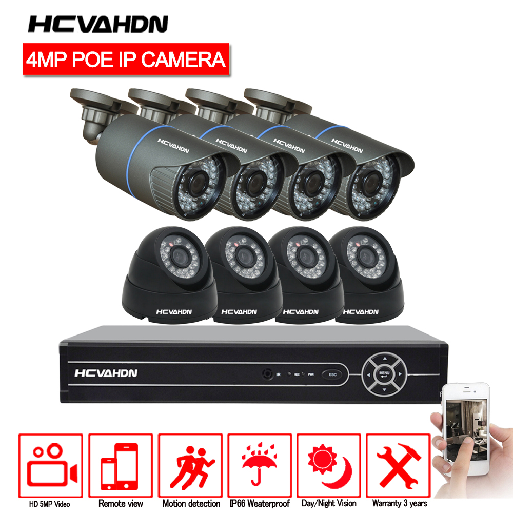 POE Cctv di Sicurezza del Sistema HD H.265 5.0MP 8CH NVR 2592*1520 4MP IP Camera Indoor Outdoor Day/ video di notte di Sorveglianza Kit