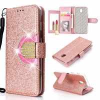 KEFO Bling Brieftasche Fall Für Samsung Galaxy J3 J5 J7 2016 2017 Diamant Flip Spiegel Abdeckung Für Samsung Galaxy J2 pro J4 J6 J8 2018