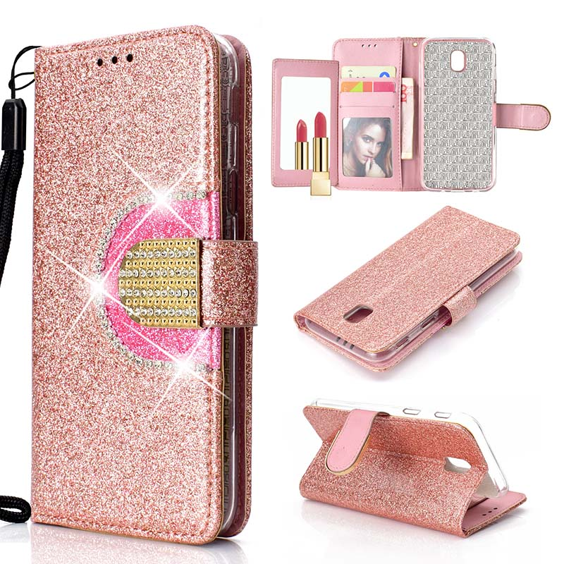KEFO Bling Wallet Case For Samsung Galaxy J3 J5 J7 2016 2017 Diamond Flip Mirror Cover For Samsung Galaxy J2 Pro J4 J6 J8 2018