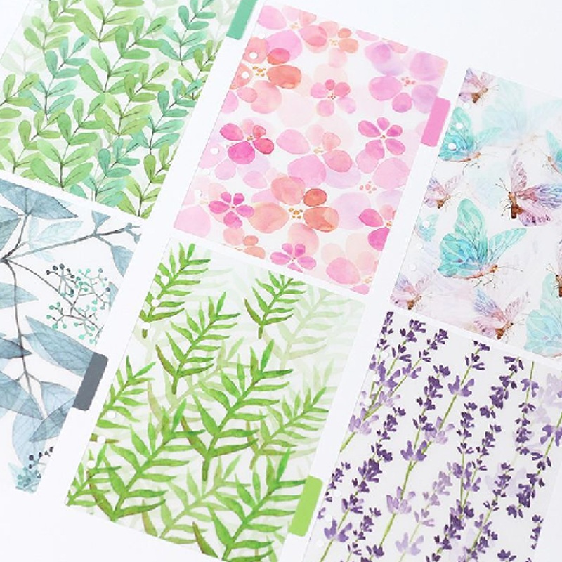 6 Sheets A5A6A7 Colorful Forest Notebook Index Pages Hand Account Book PP Matte Loose Leaf