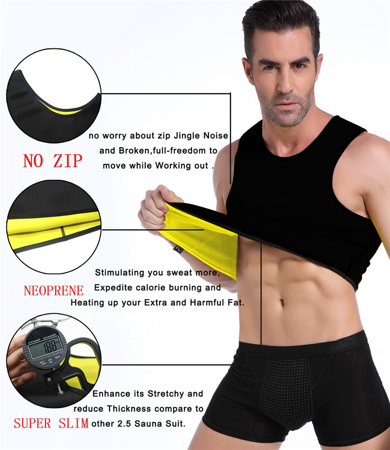 NINGMI Slimming Mens Vest Hot Shirt Sweat Sauna Suit Tummy Fat Burner Waist Trainer Fitness Tank Top Slim Body Shaper Loseweight