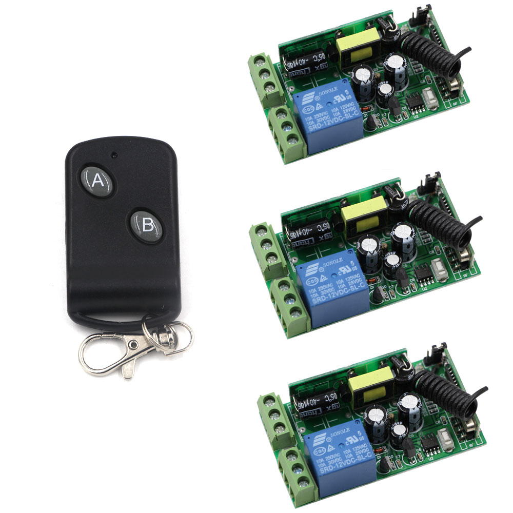 AC 85V-250V Wireless Remote Control Switch 110V 220V 1CH Relay 3 Receiver + Black Transmitter Learning Code 315/433Mhz 110v 220v remote relay control switch 12ch receiver