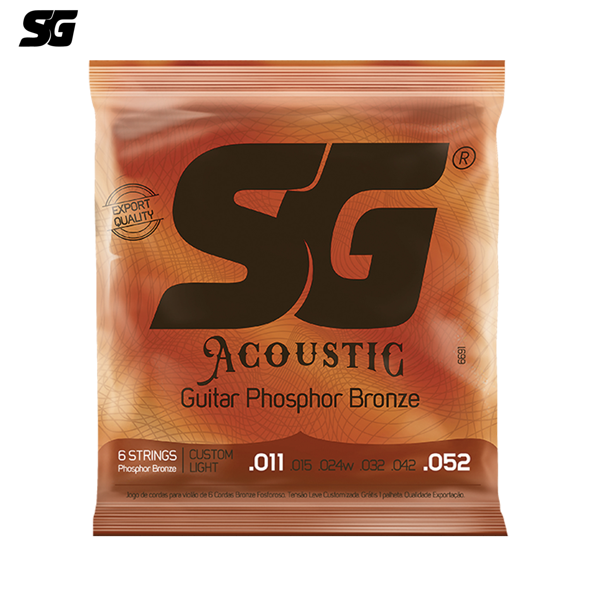 SG Brazil Acoustic Guitar Strings Phosphor Bronze Coating 1pc free Guitar Pick Tinned Steel Hexagonal Core 011-052 inch 6691EX