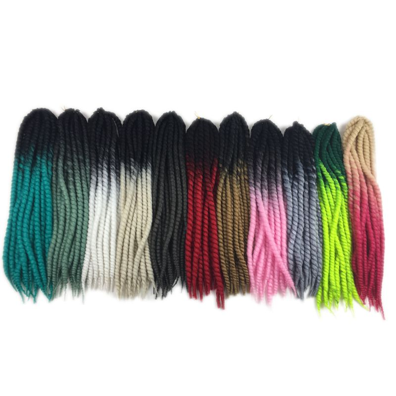 "Luxury For Braiding Pre Twist Synthetic Hair 120g 12strands/pc 22"" Two Three Tone Colors Ombre Jumbo Havana Twist Crochet Briads"