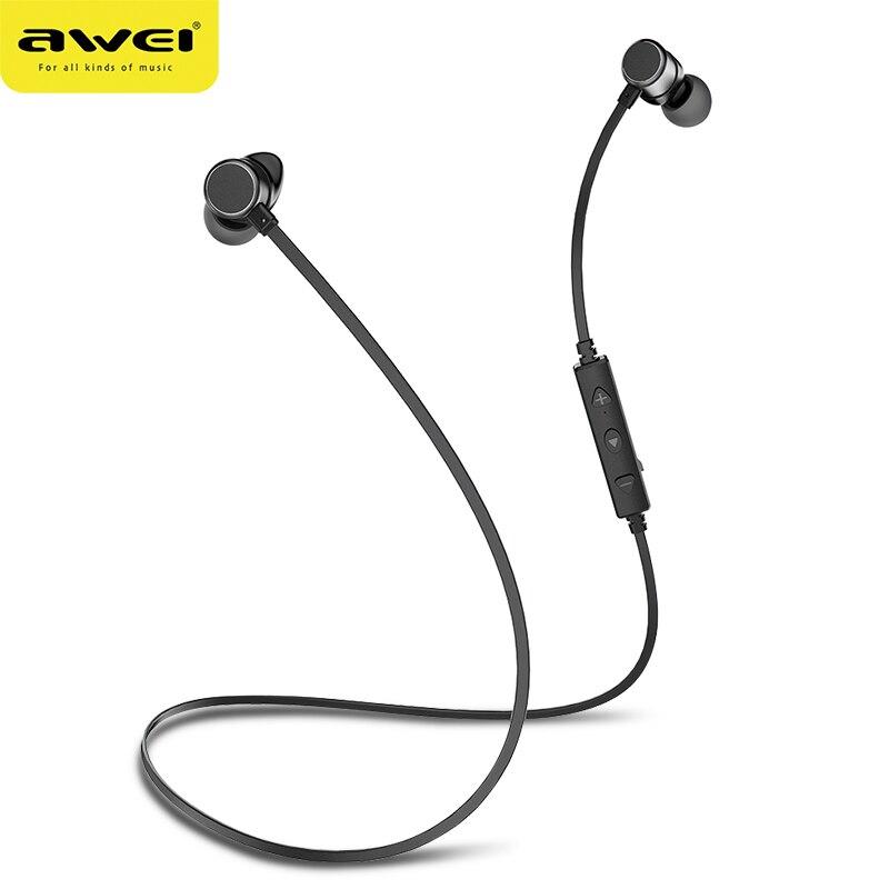 AWEI WT10 Bluetooth Trasduttore Auricolare Senza Fili Della Cuffia  Auricolare per il Telefono Neckband sport auricolare 5e5488e869c6