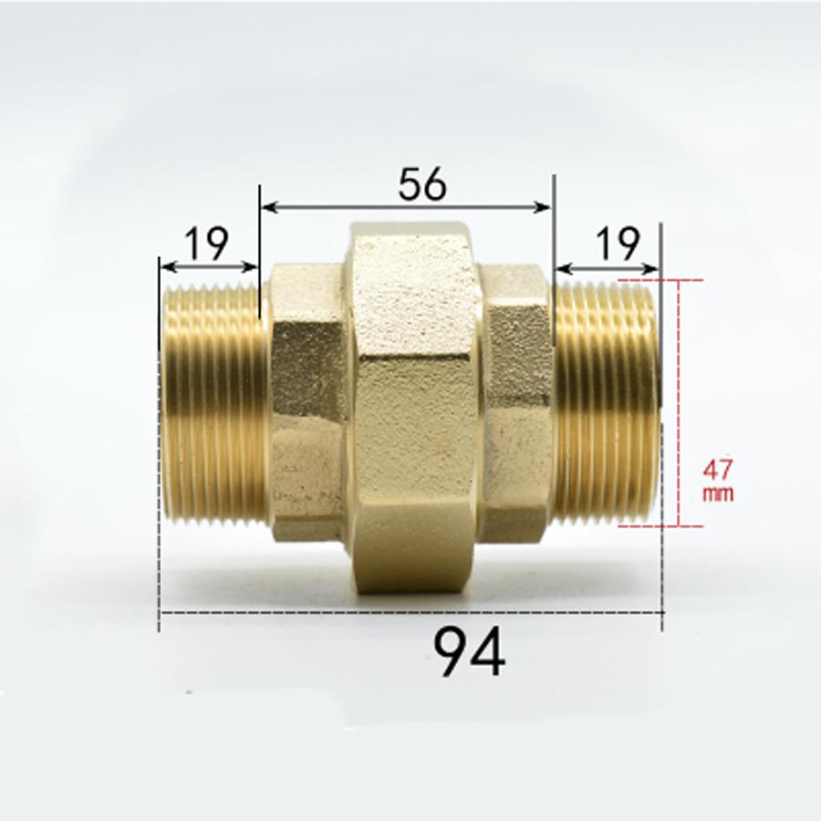 DN40 G 1 1/2 BSPP Male Brass Socket Union Pipe Fitting Coupling Water Gas Oil