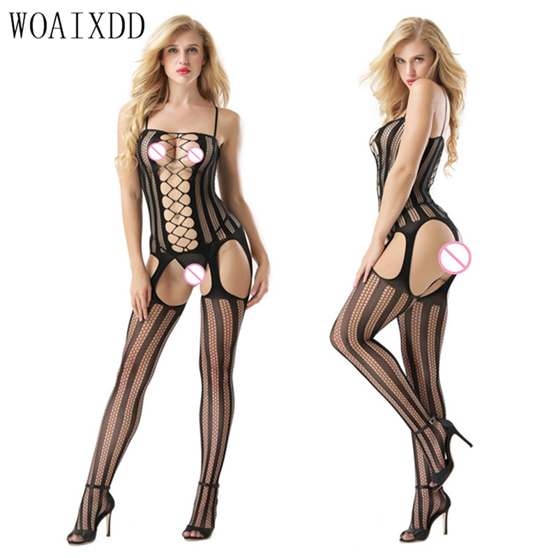 Sexy Erotic Lingerie Women Hot Open Crotch Fishnet Costumes WOAIXDD Bodystocking Plus Size Lenceria Erotica Mujer Sexi Teddy