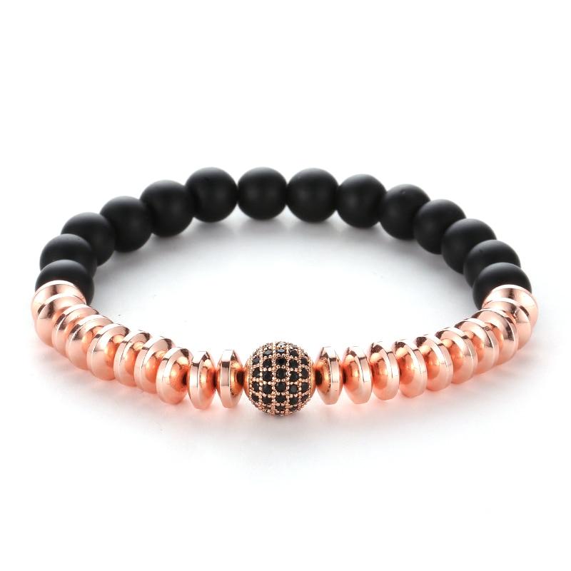 4 Colors Hematite Spacer 8mm Black Stone Pave CZ Zircon Ball Charm Bracelet Men Women Bracelet Jewelry Pulseira Jewelry