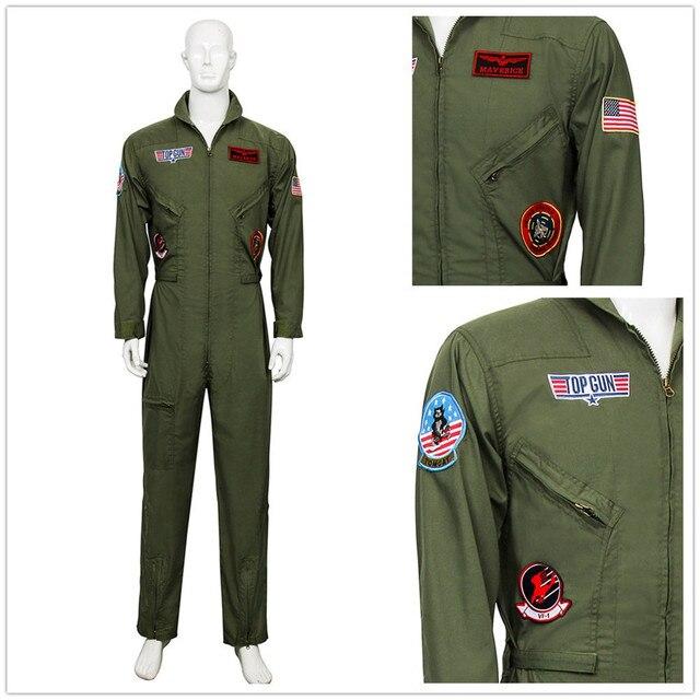 3214342a80b Top Gun Men Flight Suit Airman Costume Halloween Party Cosplay Policeman  Special Forces Jumpsuit Role Play Pilot Aviator Uniform
