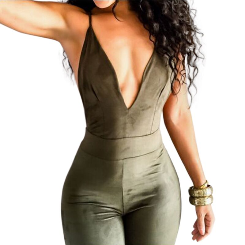 Sedrinuo Sleeveless Elegant Jumpsuit Fashion Bodycon Deep V neck Halter Cross Suede Sexy Club Jumpsuits and Rompers for Women