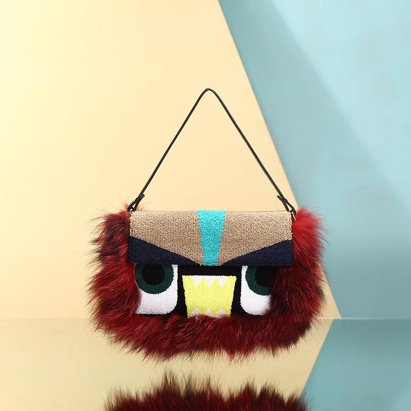 ФОТО Monster Clutch Purses Handbags Party Envelope Bolsos Mujer Luxry Winter Women Messenger Bags Raccoon Fox Fur Shoulder Bag 756