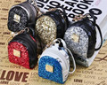New fashion stud bling paillette backpack coin purse wallet keychain key ring PU leaher multifunction car bag pendant charm