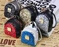Nuevos pendientes de la moda bling del paillette mochila bolso de la moneda monedero de la cartera clave llavero anillo de LA PU leaher multifunción coche bolsa colgante charm