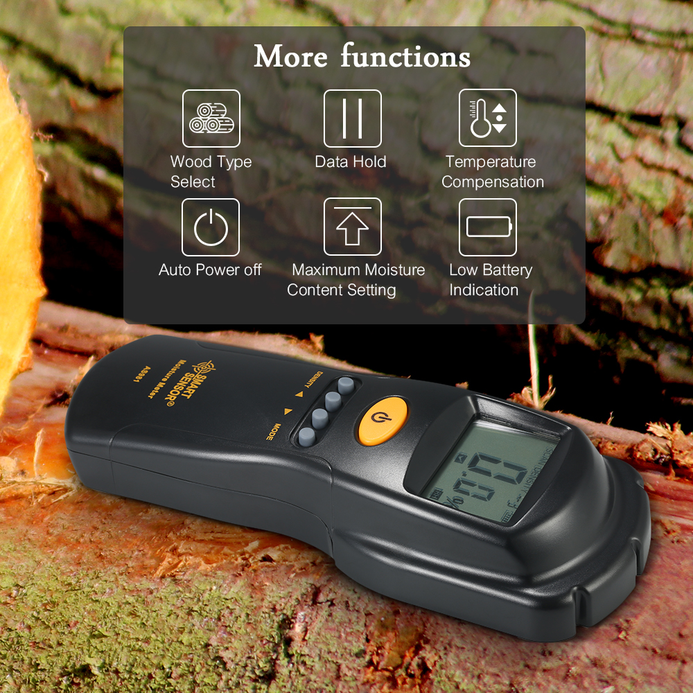 SMART SENSOR LCD Digital Wood Moisture Meter Professional Mini Lumber Damp Meter Moisture Content Detector Tester Range 2-70% 10 grades wood density optional large lcd intelligent moisture meter inductive wood moisture detector