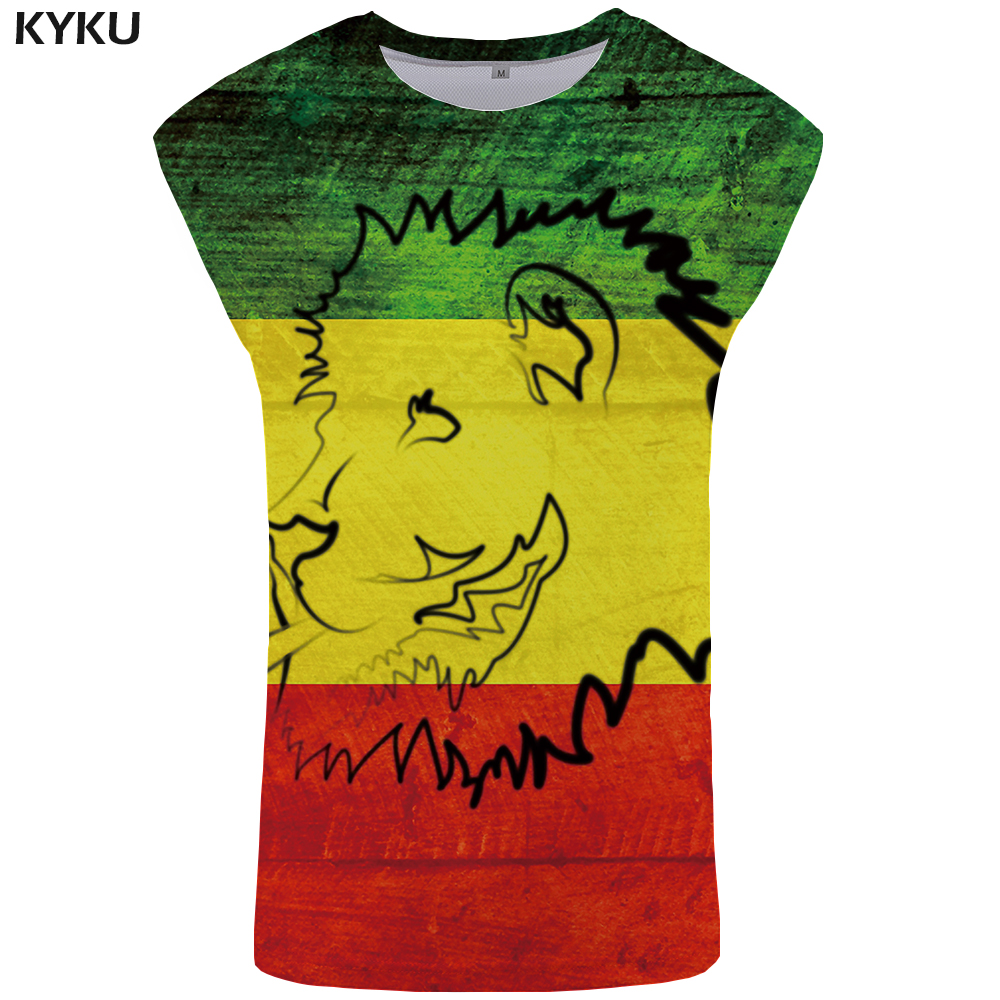 KYKU Brand Lion   Tank     Top   Men Funny Singlet Casual Vest Mens Bodybuilding Stringer Undershirt Sleeveless Shirt 2018 Anime