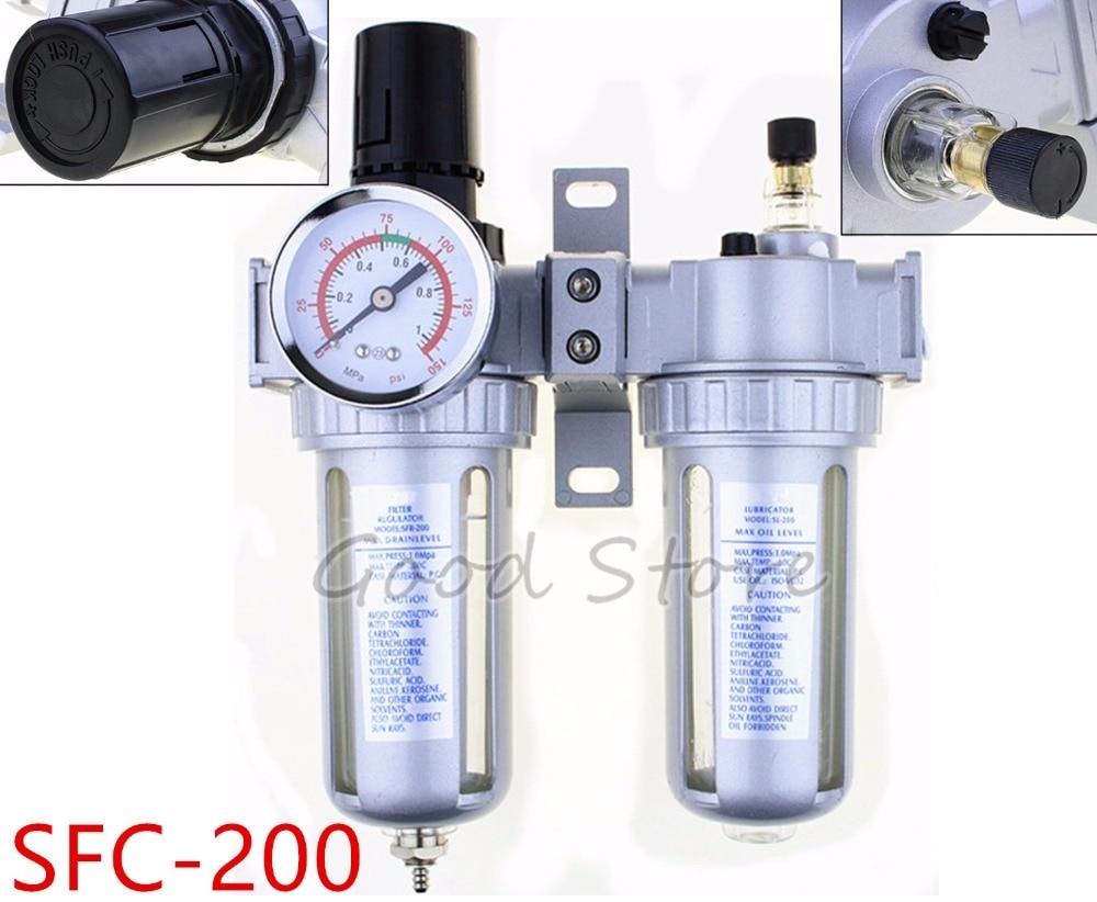 SFC200 Two Units Air Filter Regulator Lubricator Air Compressor Filter Regulator SFC-200 Air Preparation Units 1/4''