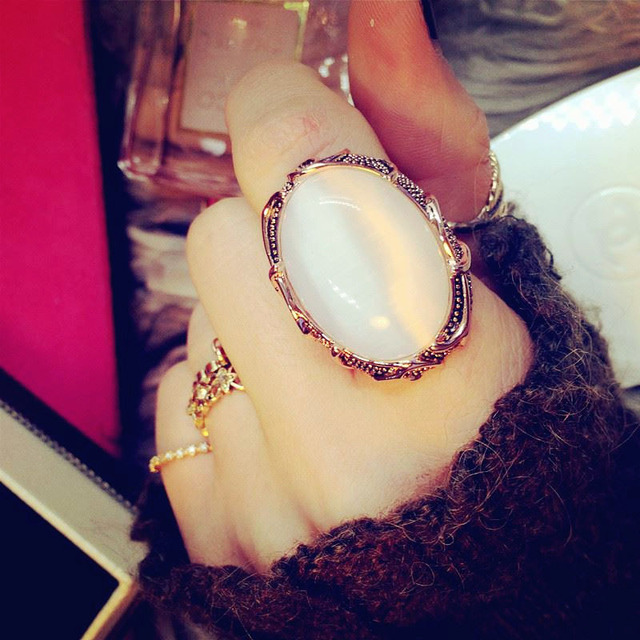 Fashion Vintage Bohemia Large Imitation Oval Cat's eye Big Ring Opal Stone Rose