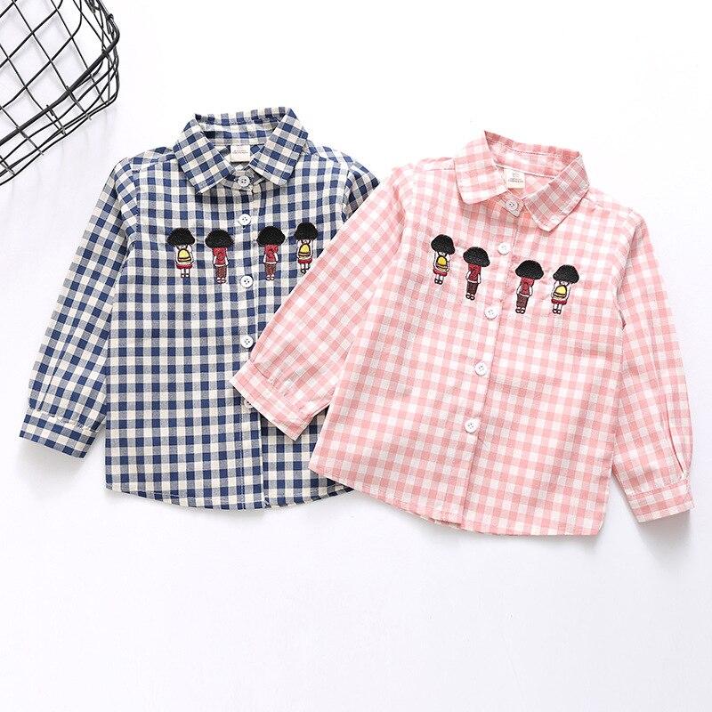 # Lhd92 Mädchen Jungen Plaid Print Stickerei Shirts Blusen Waren Des TäGlichen Bedarfs
