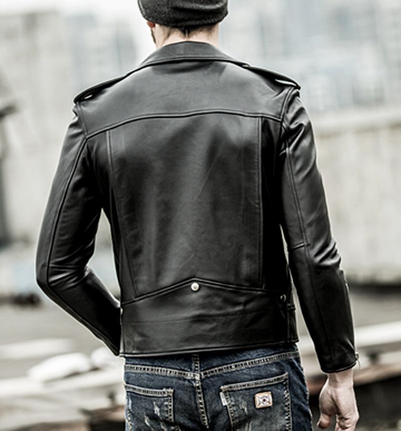 HTB1EYgFaorrK1RkSne1q6ArVVXaX Free shipping.brand new black mens sheepskin jacket.classic biker soft genuine leather coat.fashion plus size style slim jackets