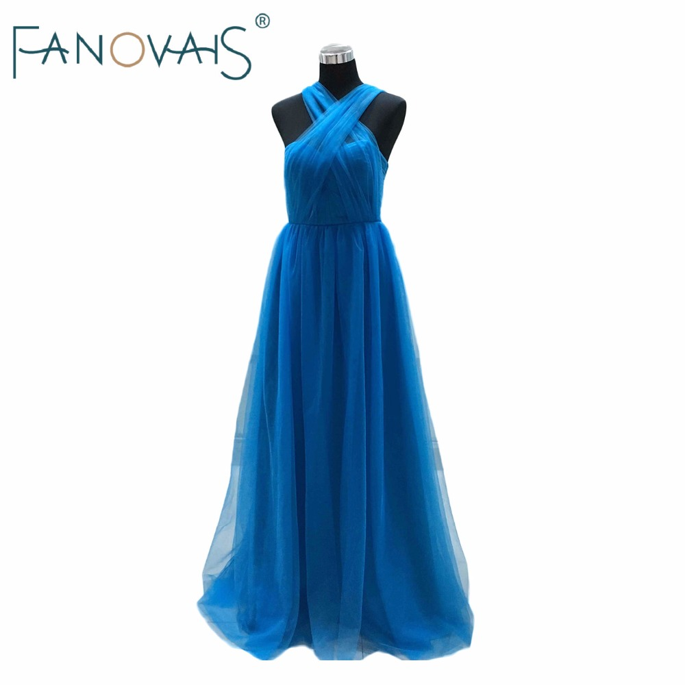 Real Photos Floor Length Pleats Blue Bridesmaid Dresses Sweetheart Convertible Long Cheap Bridesmaid Dress