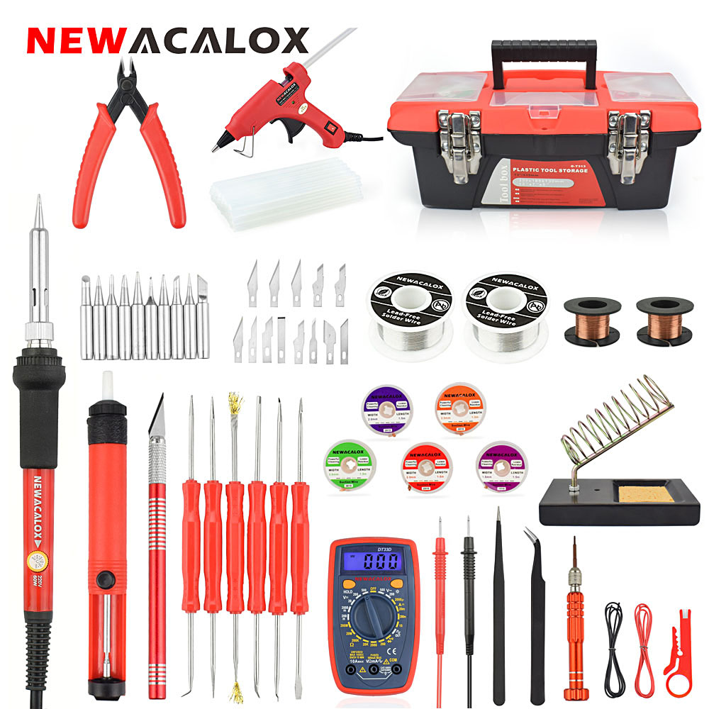 NEWACALOX EU/US 60W Adjustable Temp Soldering Iron Set Digital Multimeter 7mm Glue Gun Welding Repair Tool Kit with Tool Box цена 2017