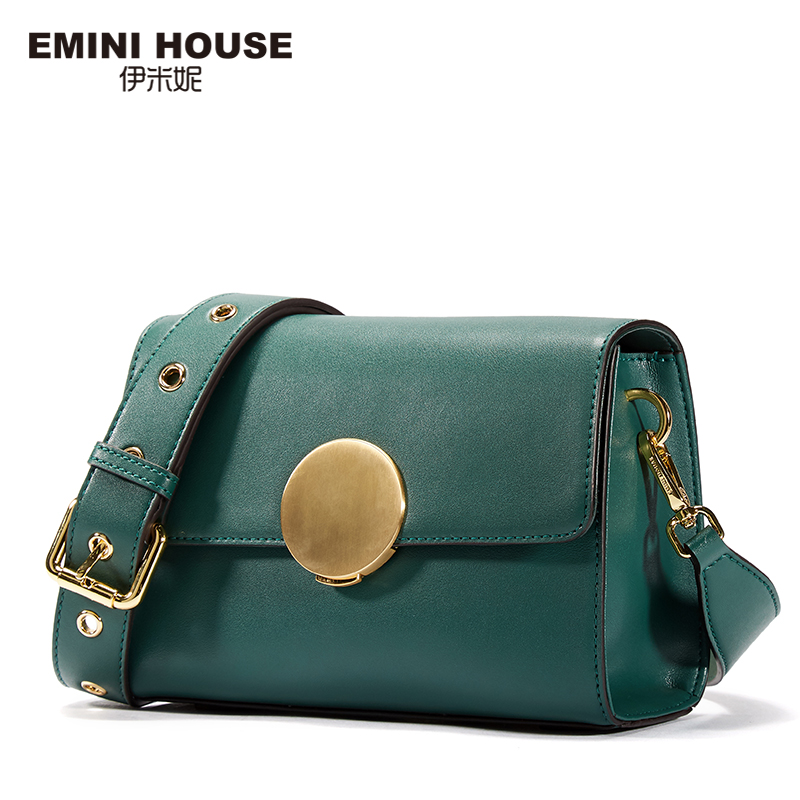 EMINI HOUSE Round Lock Flap Bags Split Leather Women Shoulder Bag Wide Strap Luxury Brand Crossbody Bags For Women Messenger Bag
