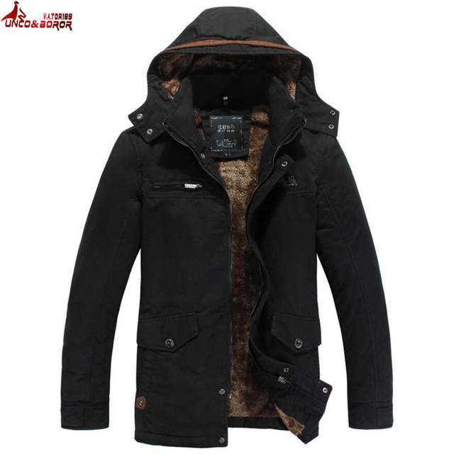 Best Price  UNCO&BOROR Winter Jacket Men Warm Washed cotton Coat outwear fashion fleece parka male Elegant Business Multi Pocket overcoat