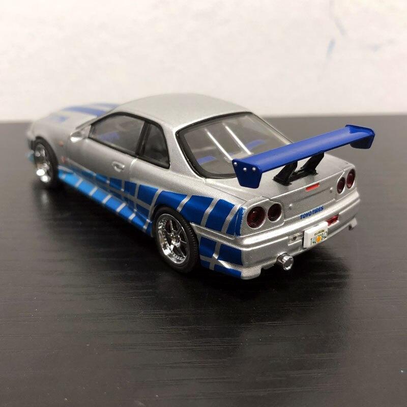 YJ 1/43 шкала модель автомобиля игрушки Форсаж Брайан 1999 nissan GT-R R34 литья под давлением Металл Модель автомобиля игрушка для сбора/малышей/подар...