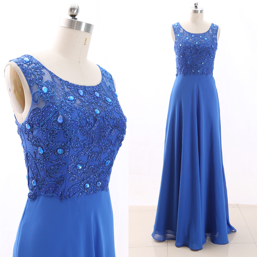 MACloth Blue A-Line Scoop Neck Floor-Length Long Embroidery Tulle Prom Dresses Dress S 266340 Clearance