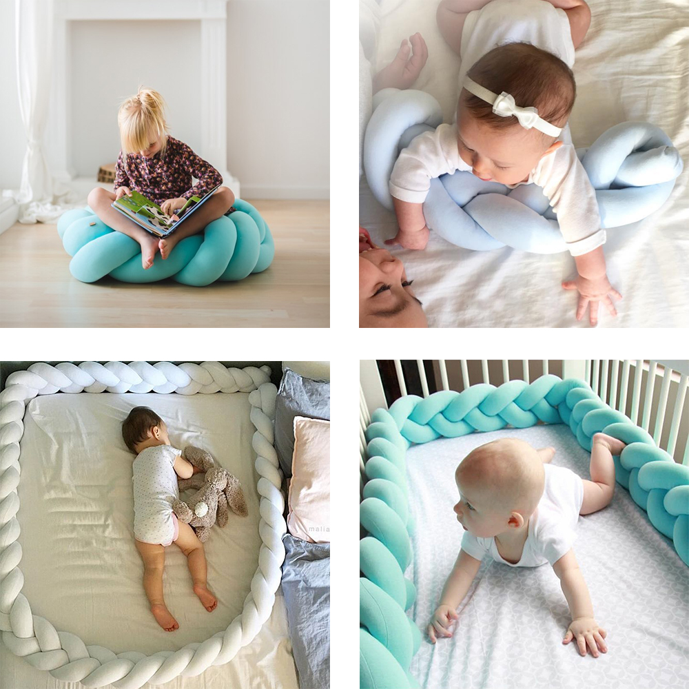 1.5M-2.0M Baby Bed Bumper Solid Baby Crib Protector Newborn Room Decoration Infant Weaving Plush Bedding Bumper Accessories
