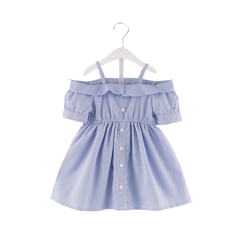 Fashion baby girls dress blue and white striped off shoulder dress kids summer short sleeves clothing casual dress for 2-7 ys velvet short sleeves off the shoulder crop top in black