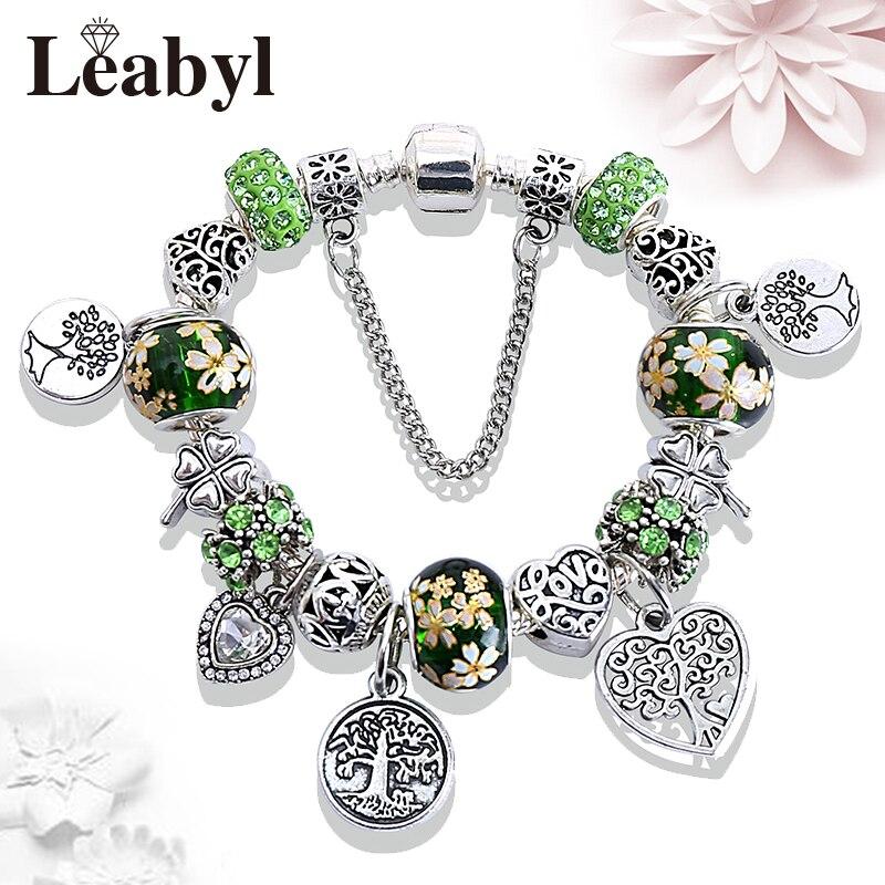 Leabyl Green Style Tree of Life Charm Pandora Bracelet Tibetan Silver Heart Tree Pendant Bead Jewelry Bracelet Gift for Women