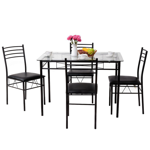 5PC Dining Set w/ Tempered Glass 3