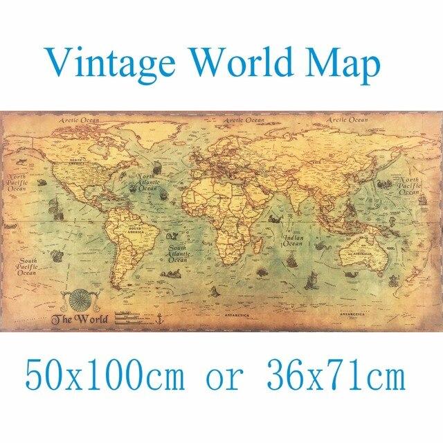 Aliexpresscom Buy XCM Large Vintage World Map Kraft Paper - Large vintage world map poster