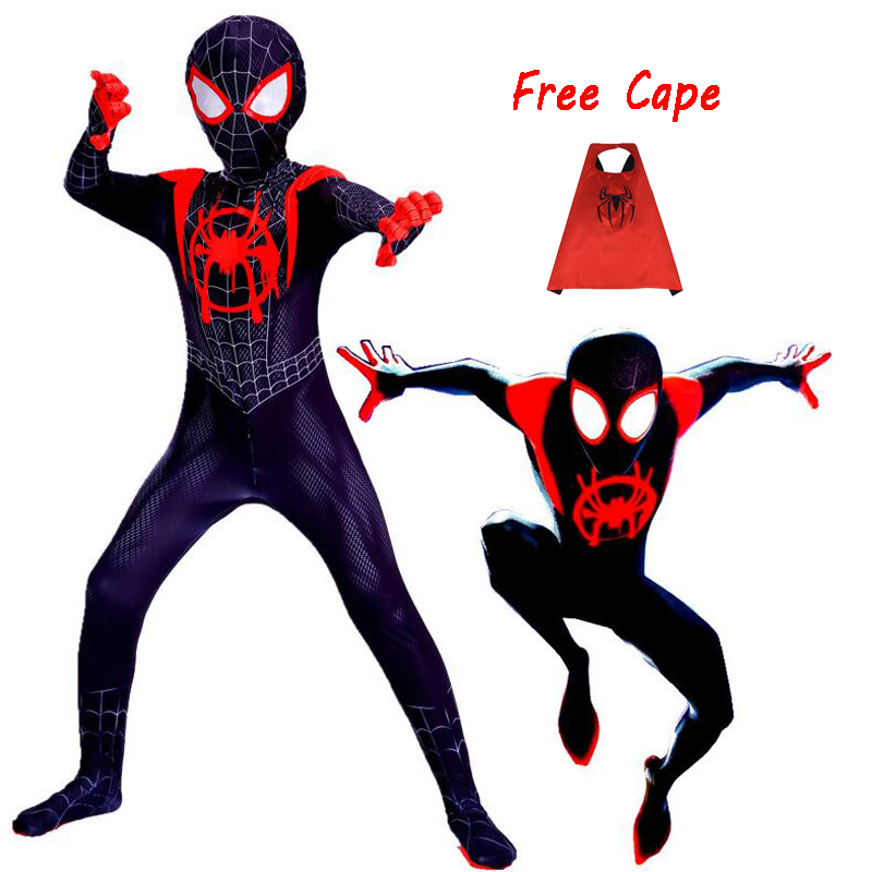 New 2018 Kids Spider-Man Into The Spider-Verse Miles Morales Cosplay Costume Zentai Spiderman Pattern Bodysuit Suit Jumpsuits