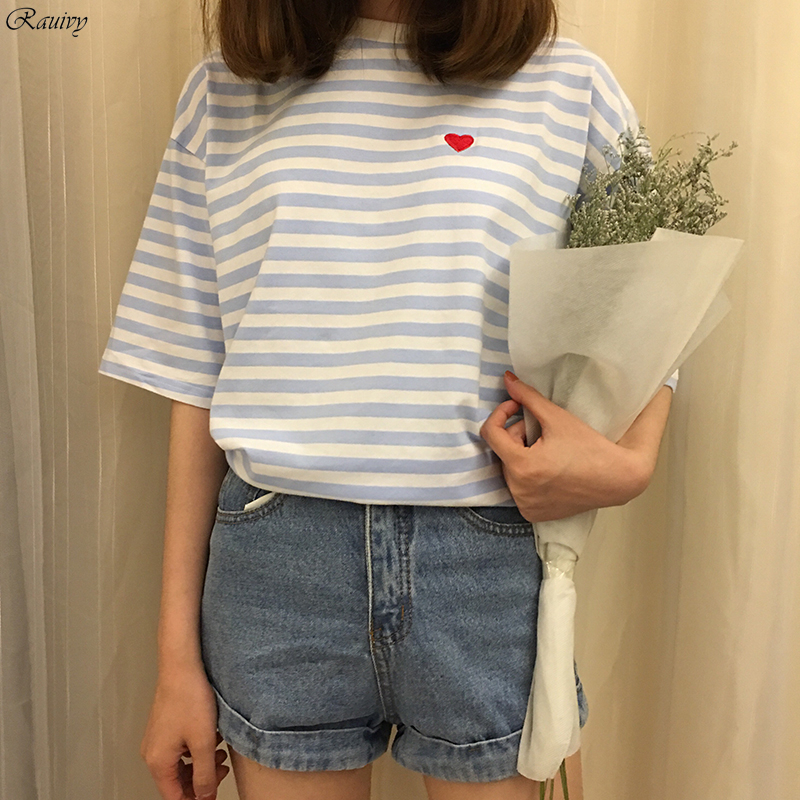 a77ed0a4e2 bts t shirts 2017 korean summer fashion harajuku shirt kawaii retro stripes  love letters embroidery stitching pink t shirt women-in T-Shirts from  Women's ...