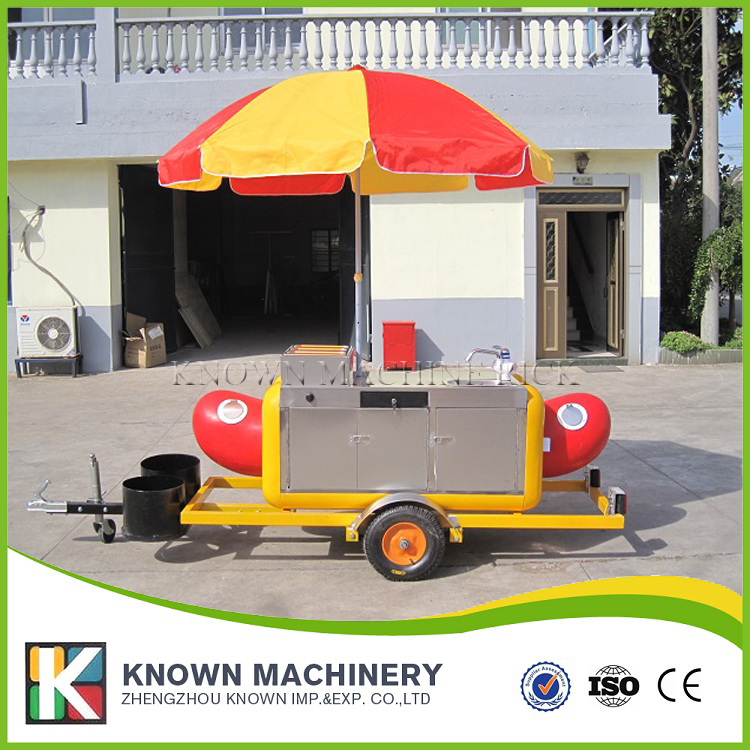 KN-HS230 hot dog food trailer truck Hamburger ice cream fast trailer/truck with stainless steel multifunctional mobile food trailer cart fast food kitchen concession trailer