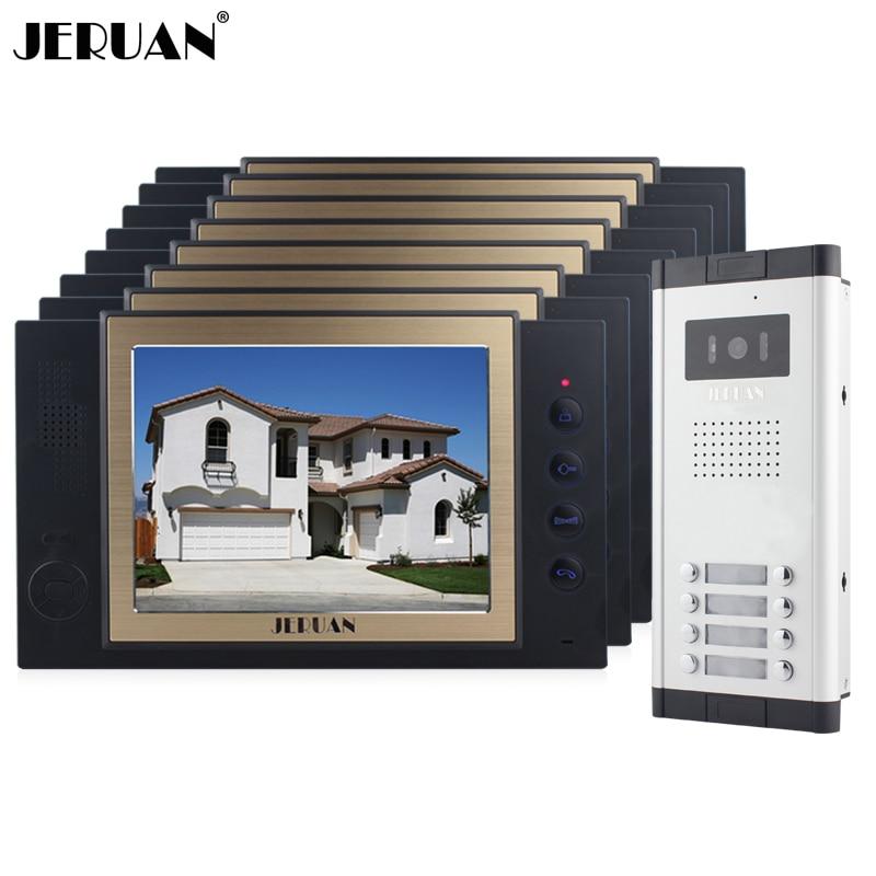 JERUAN Apartment 8 Doorbell Intercom 8`` Video Door Phone Record Intercom System 700TVL IR Camera For 8 Household 8GB SD Card
