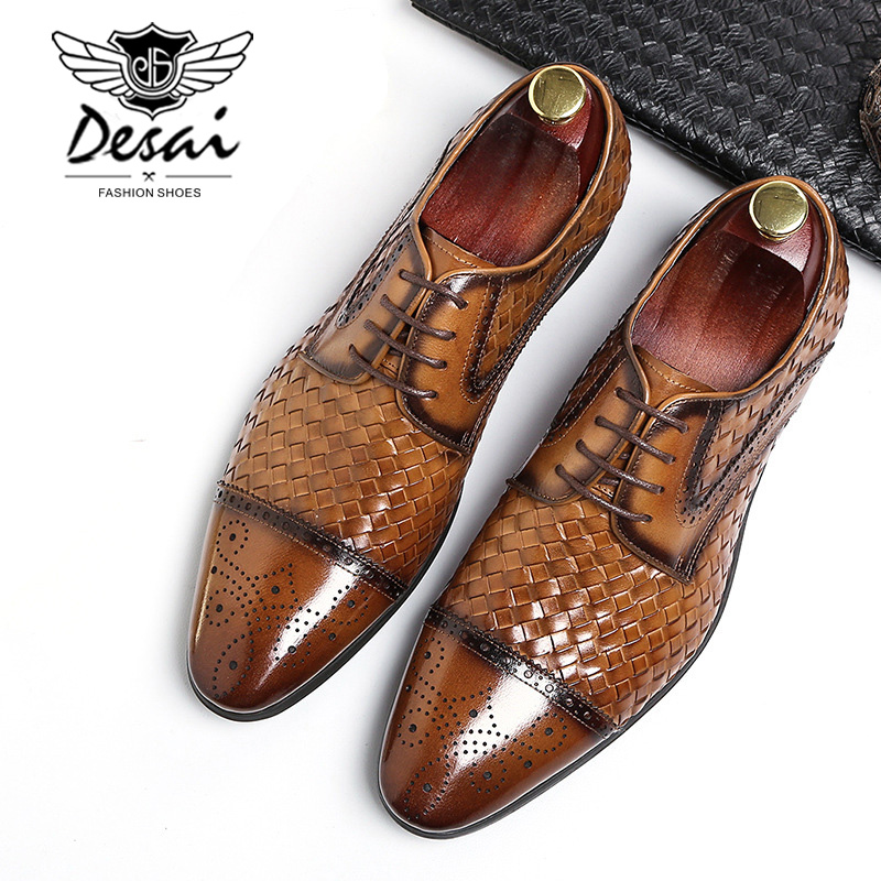 2019 New Fashion Casual Mens Business Dress Shoes Genuine Leather Crocodile Lace up Italian Stylist Formal Oxfords Wedding Shoes