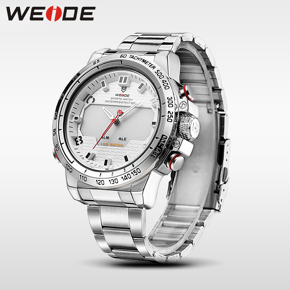 WEIDE steel series watches luxury brand sport digital waterproof watch men quartz watches saat clock erkek kol saati wrist watch watch men led digital waterproof wristwatch casual man sport watches 2017 new weide famous brand saat erkekler horloges mannen