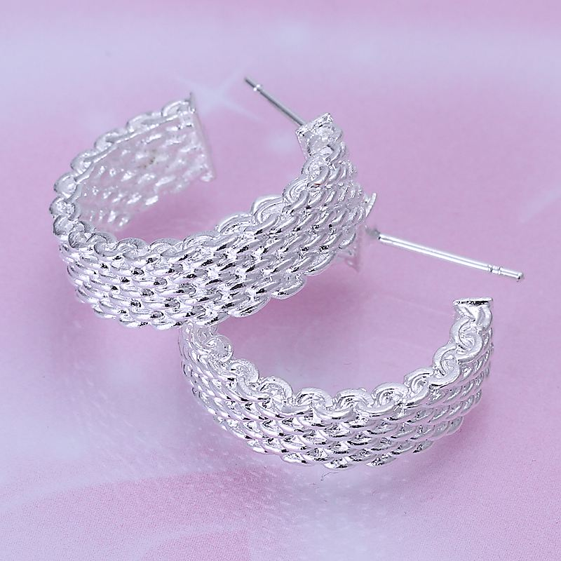 Free Shipping Fashion jewelry silver color silver plated earrings Weaved Web stud earing brincos floating charms