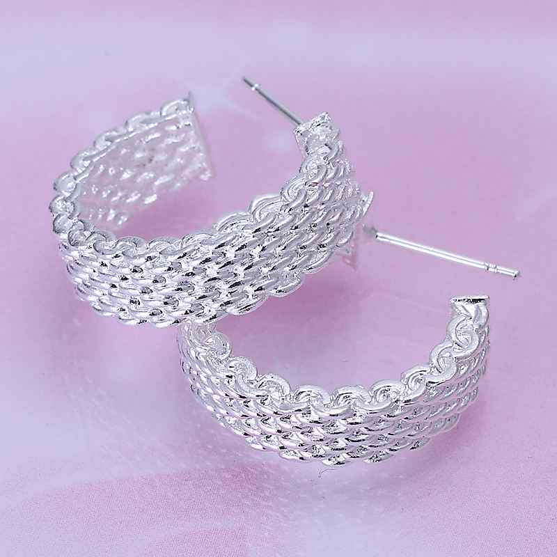 Hot verkoop Fashion 925 sieraden zilveren kleur verzilverd oorbellen Geweven Web stud earing brincos drijvende charms