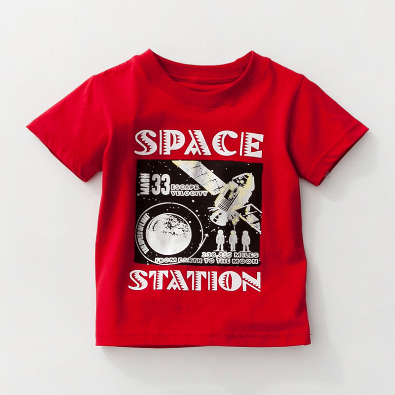 Little Maven New Summer Kids Clothing Short O-neck Red Space Station Knitted Cute Cotton Quality Boys Casual Tshirt