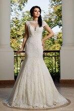 Vestido De Noiva Romantic Unique Short Sleeves Wedding Dress O-neck Sheer Back Brush Train Vintage Mermaid  NM 551