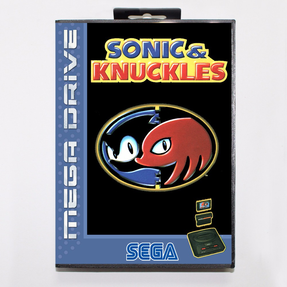 Sonic and Knuckles Game Cartridge 16 bit MD Game Card With Retail Box For Sega Mega Drive For Genesis