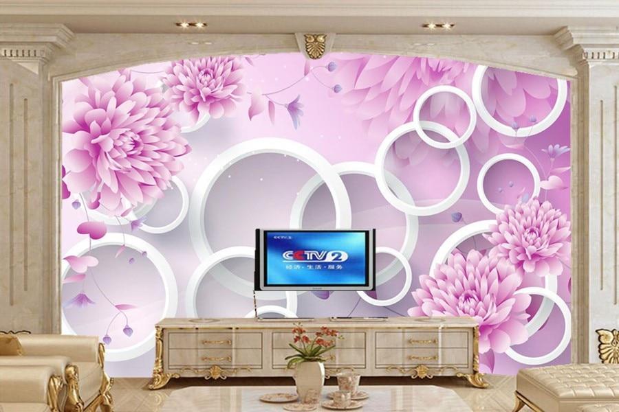 Paarse Decoratie Slaapkamer : ≧3d muurschildering papel de parede romantische paarse bloem