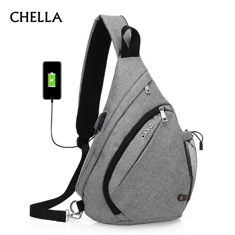 Men Backpack Anti Theft Drop Design Canvas Chest Bag USB Rechargeable Teenager Single Shoulder Bags Glasses Hook Mochila BP0213