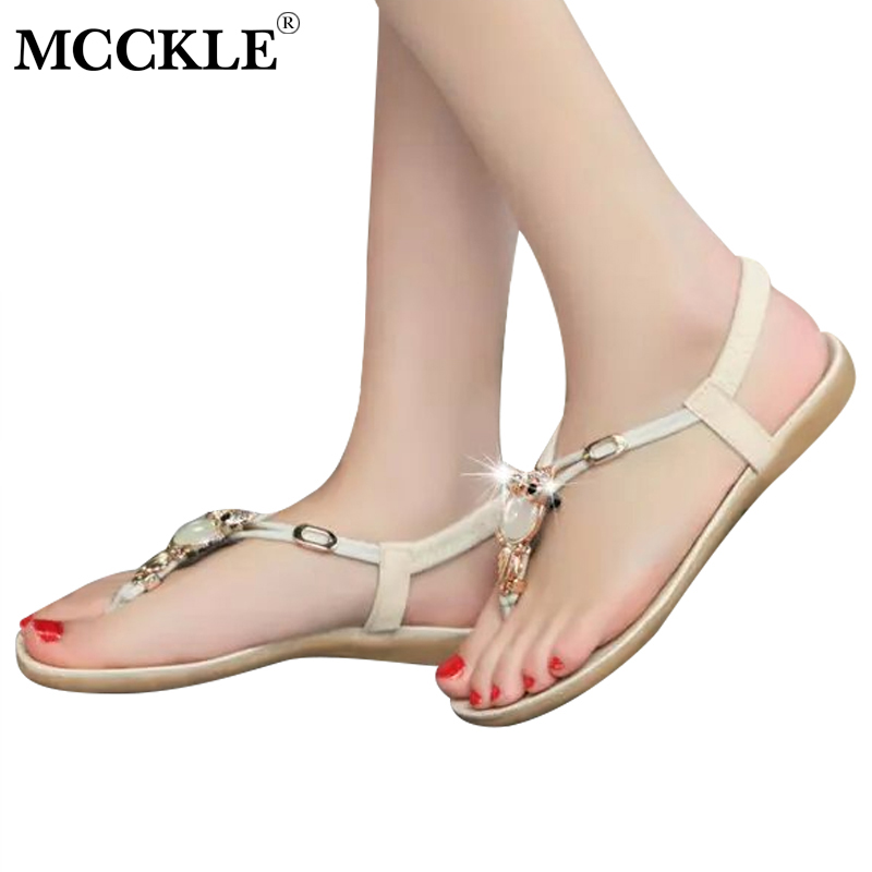 MCCKLE Women Summer Bohemia Flip Flops Sandals Female Casual Ankle Strap Elastic Band Crystal Shoes Woman Flat Shoe Plus Size covoyyar 2018 fringe women sandals vintage tassel lady flip flops summer back zip flat women shoes plus size 40 wss765