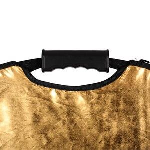 Image 4 - 43 110cm 5 in 1 taşınabilir katlanabilir yuvarlak el ışık reflektörü, flaş aksesuarları fotoğraf stüdyosu için taşıma çantası ile