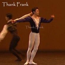 사용자 정의 만든 남성 프린스 발레 탑 소년 긴 소매 댄스 의상 남자 v 목 우아한 무대 의류 전문 남성 의상